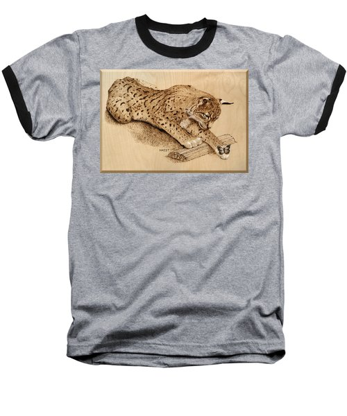 Baseball T-Shirt featuring the pyrography Bobcat And Friend by Ron Haist