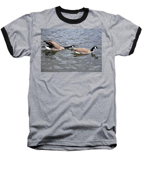 Bossy Canada Goose Baseball T-Shirt by Susan Wiedmann