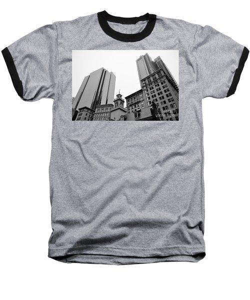 Boston Cityscape Black And White Baseball T-Shirt