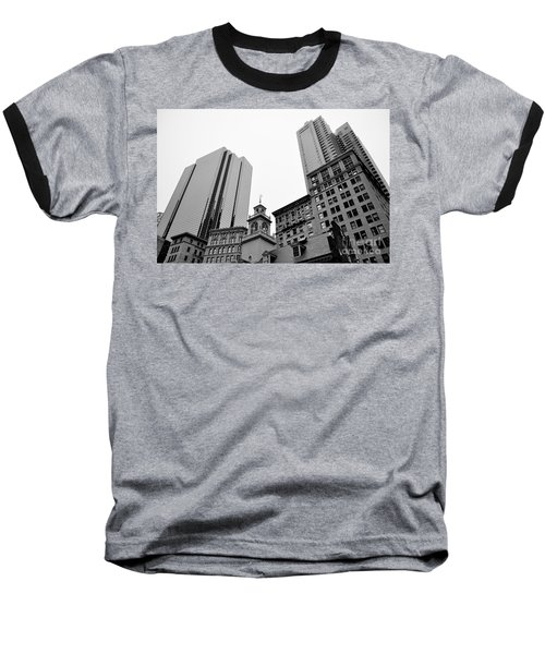 Boston Cityscape Black And White Baseball T-Shirt