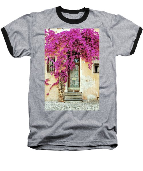 Bougainvillea Doorway Baseball T-Shirt by Allen Beatty