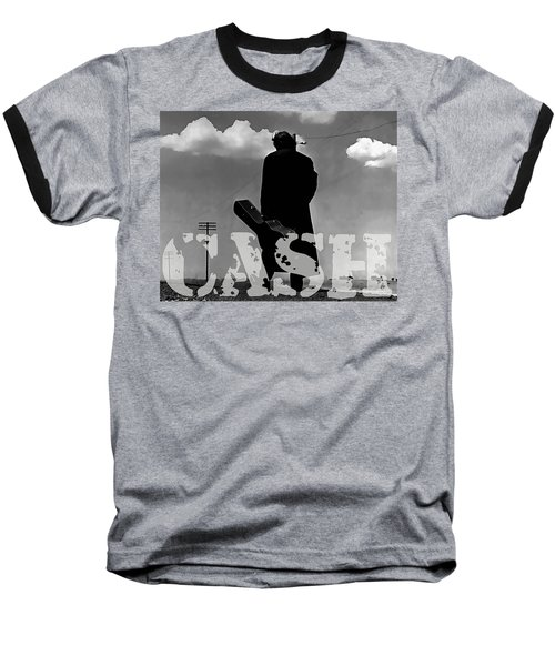 Baseball T-Shirt featuring the mixed media Johnny Cash by Marvin Blaine