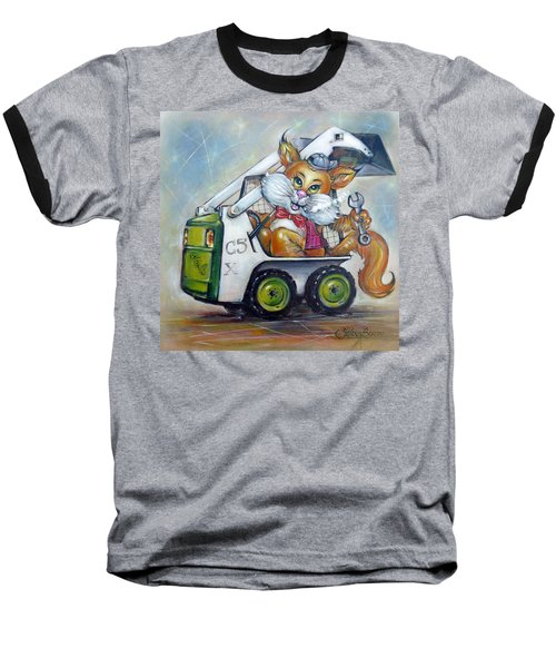 Baseball T-Shirt featuring the painting Cat C5x 190312 by Selena Boron