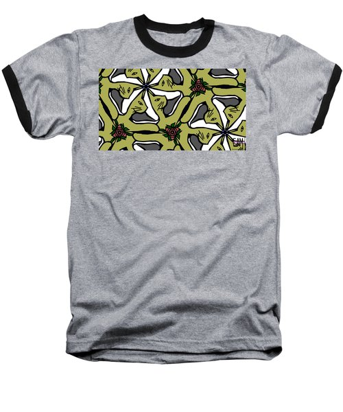 Baseball T-Shirt featuring the digital art Cat / Shoe / Rose by Elizabeth McTaggart