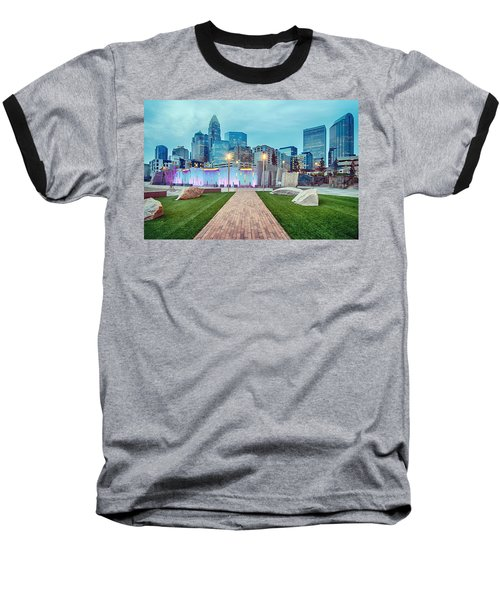 Charlotte City Skyline In The Evening Baseball T-Shirt