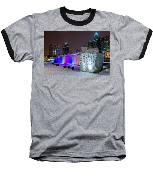 Charlotte Queen City Skyline Near Romare Bearden Park In Winter Snow Baseball T-Shirt