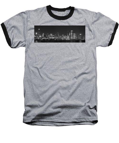 Chicago Skyline At Night Black And White Panoramic Baseball T-Shirt