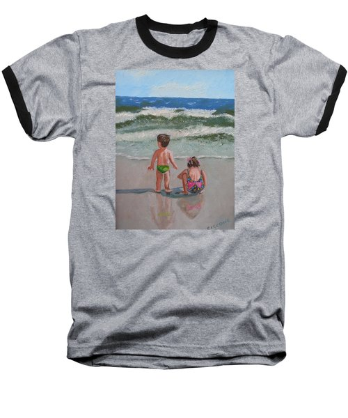Children On The Beach Baseball T-Shirt