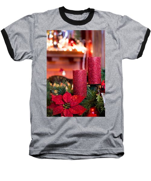 Christmas Candles Baseball T-Shirt by Patricia Babbitt