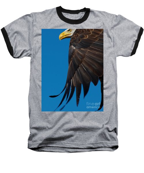 Close-up Of An American Bald Eagle In Flight Baseball T-Shirt