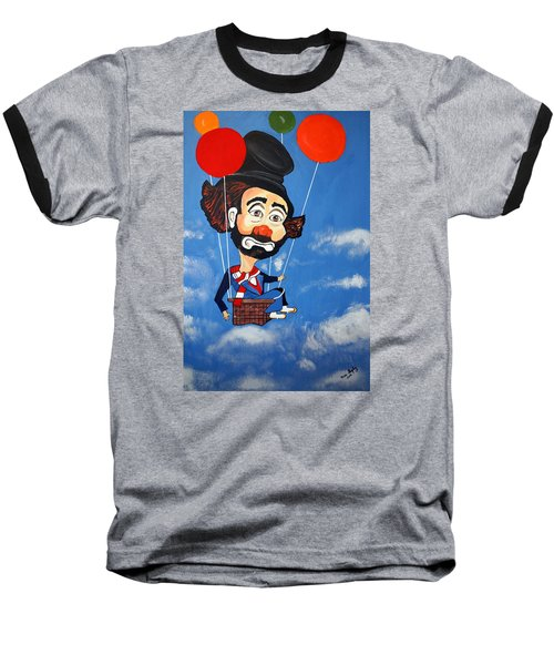 Baseball T-Shirt featuring the painting Clown Up Up And Away by Nora Shepley