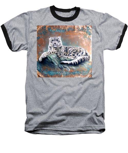 Copper Snow Leopard Baseball T-Shirt