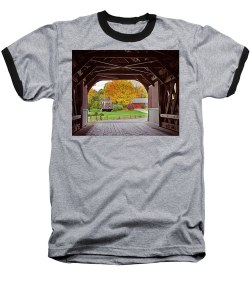 Covered Bridge In Autumn Baseball T-Shirt
