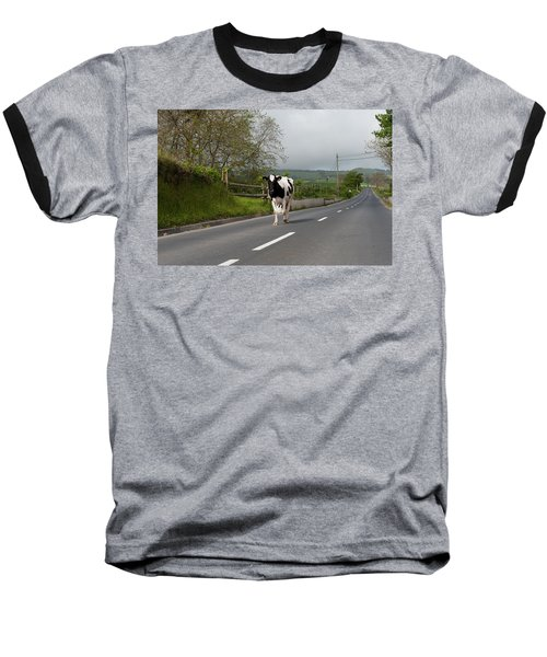 Cow Walks Along Country Road Baseball T-Shirt