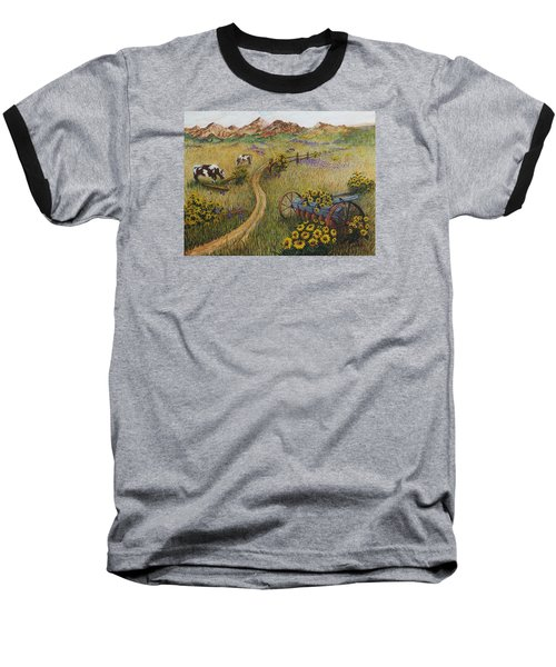 Cows Grazing Baseball T-Shirt by Katherine Young-Beck