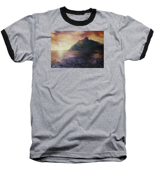 Baseball T-Shirt featuring the painting Criccieth Castle North Wales by Jean Walker