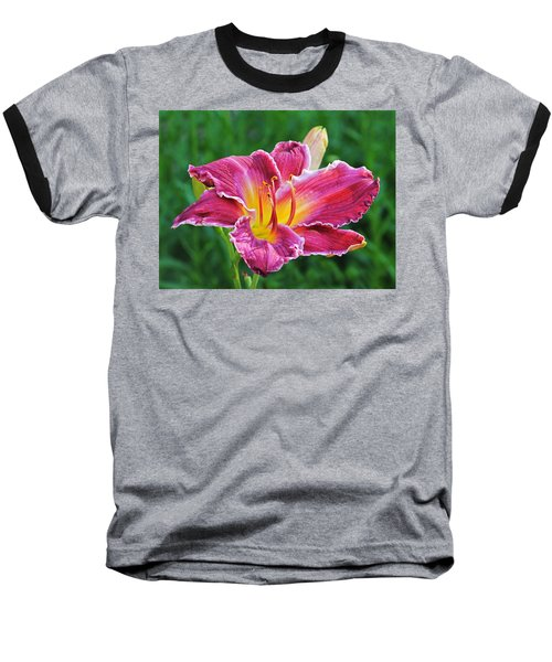 Crimson Day Lily Baseball T-Shirt