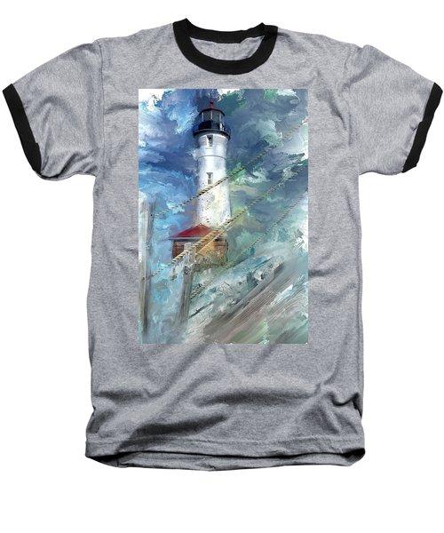 Crisp Point Lighthouse Michigan Baseball T-Shirt