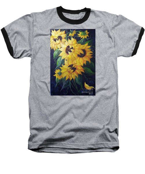 Baseball T-Shirt featuring the painting Dancing Sunflowers  by Eloise Schneider