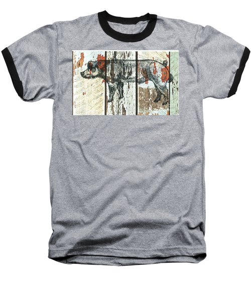 Baseball T-Shirt featuring the drawing Danish Duroc Boar by Larry Campbell