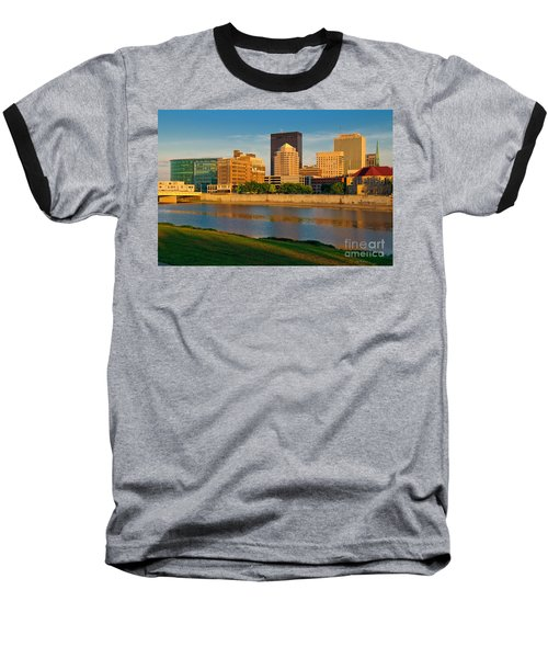 D4u-379 Dayton Skyline Photo Baseball T-Shirt