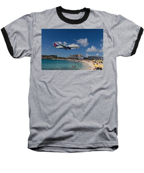 Delta Air Lines Landing At St Maarten Baseball T-Shirt by David Gleeson