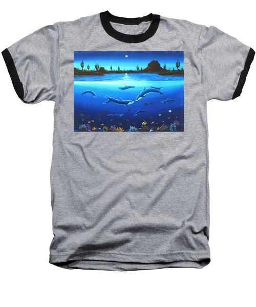 Baseball T-Shirt featuring the painting Desert Dolphins by Lance Headlee