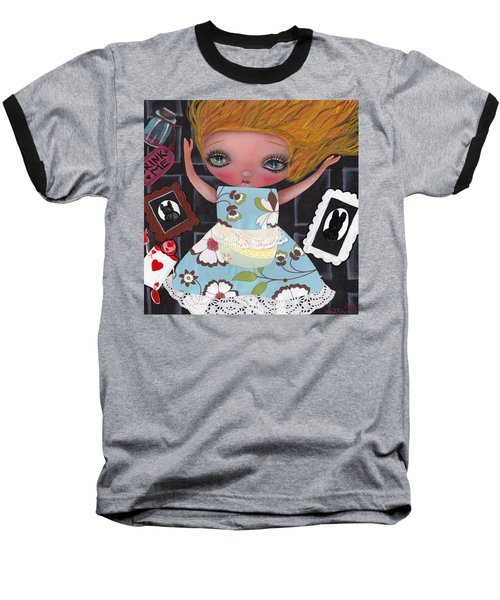Down The Rabbit Hole Baseball T-Shirt by Abril Andrade Griffith