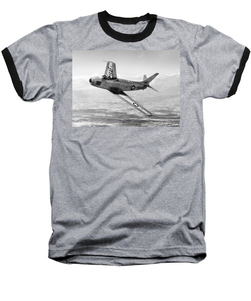 Baseball T-Shirt featuring the photograph F-86 Sabre, First Swept-wing Fighter by Science Source