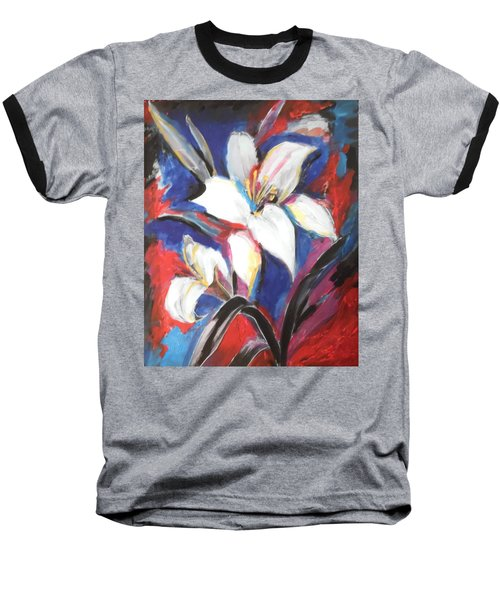 Fair Pure Fragile White Lilies Baseball T-Shirt by Esther Newman-Cohen
