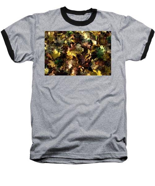 Fallen Leaves Baseball T-Shirt by Ron Harpham