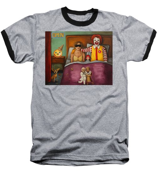 Fast Food Nightmare Baseball T-Shirt by Leah Saulnier The Painting Maniac