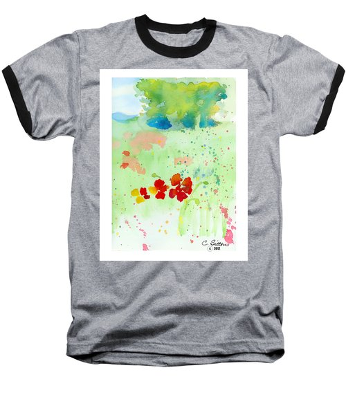 Baseball T-Shirt featuring the painting Field Of Flowers by C Sitton