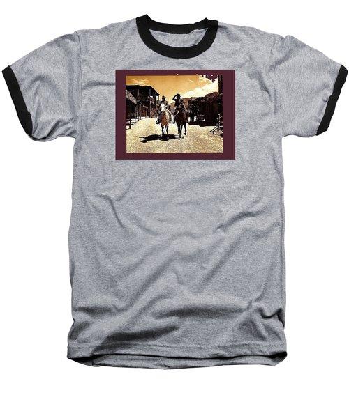 Film Homage Mark Slade Cameron Mitchell Riding Horses The High Chaparral Old Tucson Az C.1967-2013 Baseball T-Shirt by David Lee Guss