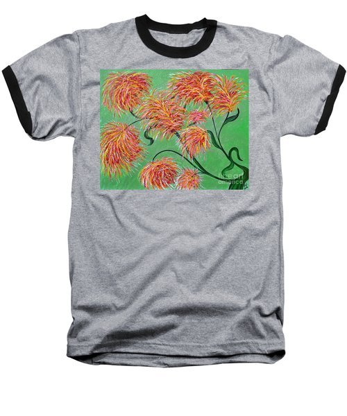 Baseball T-Shirt featuring the painting Fireworks by Alys Caviness-Gober