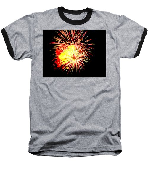 Fireworks Over Chesterbrook Baseball T-Shirt by Michael Porchik