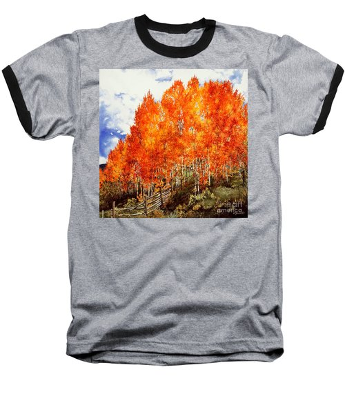Baseball T-Shirt featuring the painting Flaming Aspens 2 by Barbara Jewell