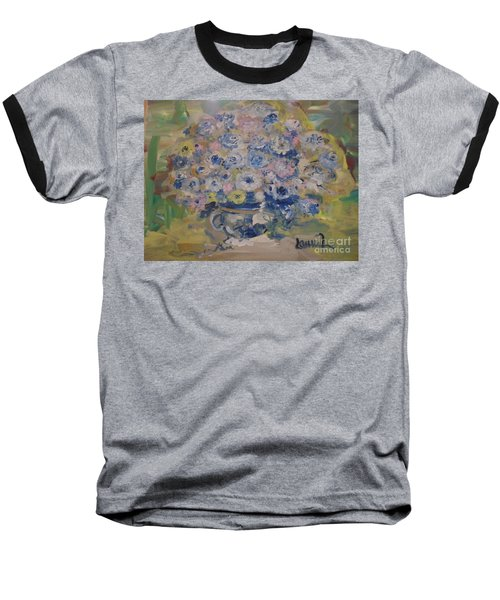 Baseball T-Shirt featuring the painting Flow Bleu by Laurie L