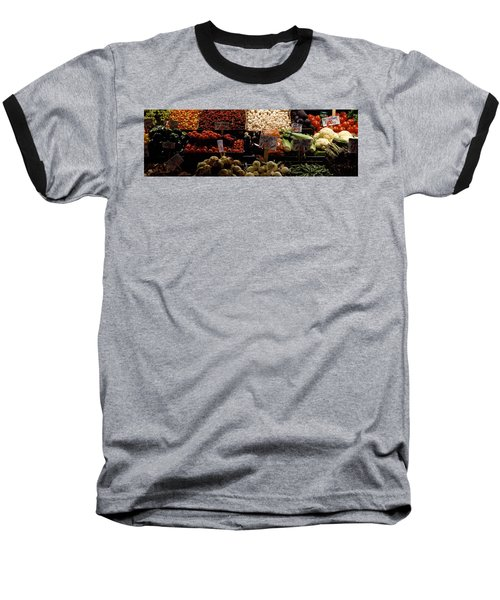 Fruits And Vegetables At A Market Baseball T-Shirt by Panoramic Images
