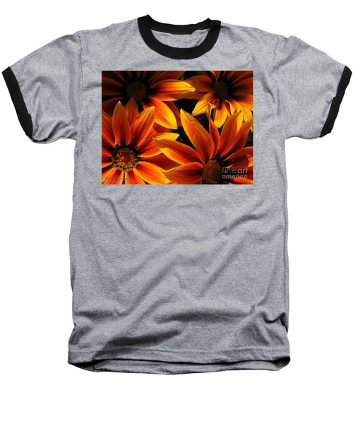 Baseball T-Shirt featuring the photograph Gazania Named Kiss Orange Flame by J McCombie