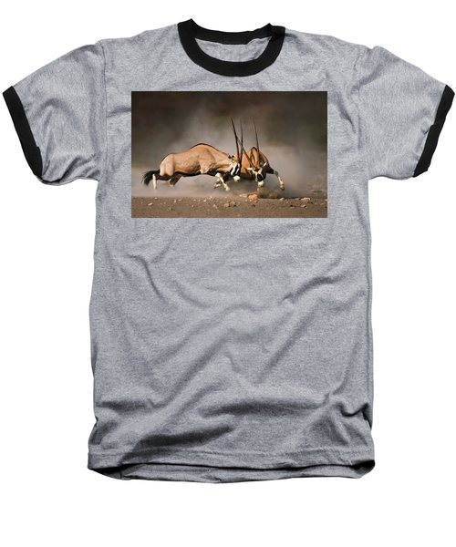 Gemsbok Fight Baseball T-Shirt by Johan Swanepoel