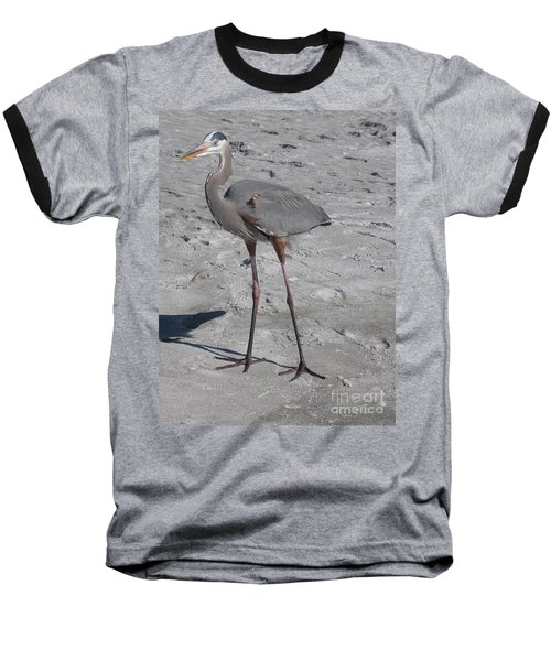 Baseball T-Shirt featuring the photograph Great Blue Heron On The Beach by Christiane Schulze Art And Photography