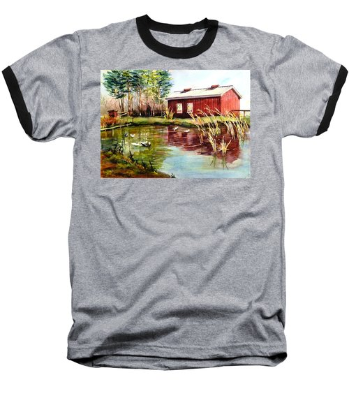 Green Acre Farm Baseball T-Shirt by Betty M M   Wong