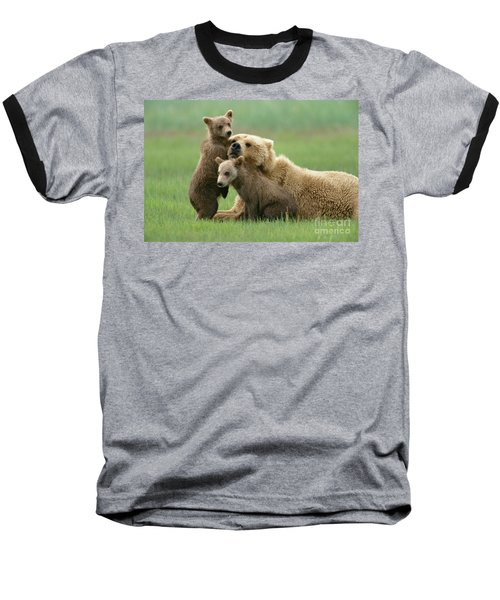 Grizzly Cubs Play With Mom Baseball T-Shirt