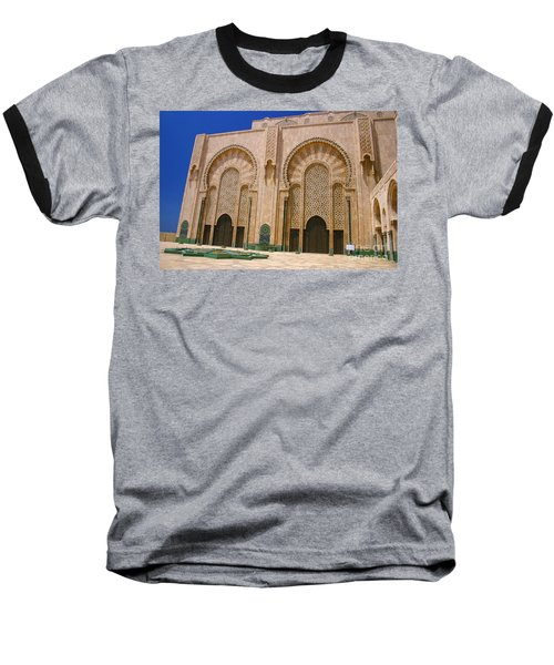 Baseball T-Shirt featuring the photograph Hassan II Mosque Grand Mosque Sour Jdid Casablanca Morocco by Ralph A  Ledergerber-Photography