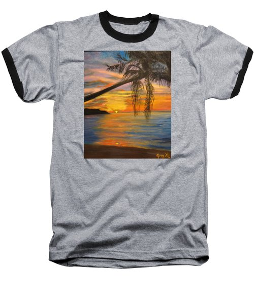 Baseball T-Shirt featuring the painting Hawaiian Sunset 11 by Jenny Lee