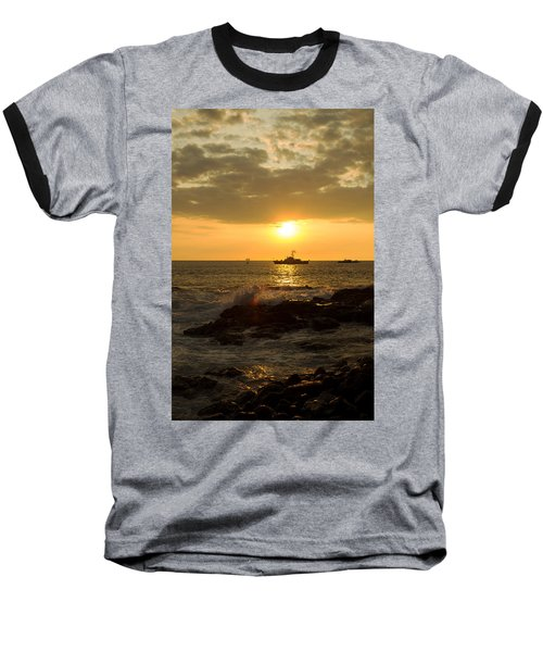 Hawaiian Waves At Sunset Baseball T-Shirt