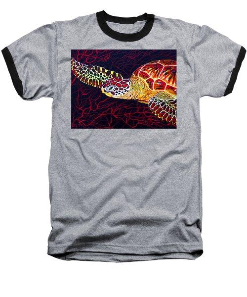 Hawksbill Turtle Baseball T-Shirt by Debbie Chamberlin
