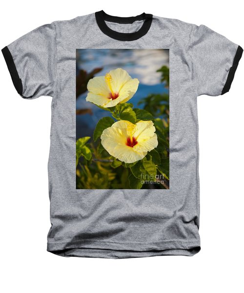 Baseball T-Shirt featuring the photograph Bright Yellow Hibiscus by Roselynne Broussard
