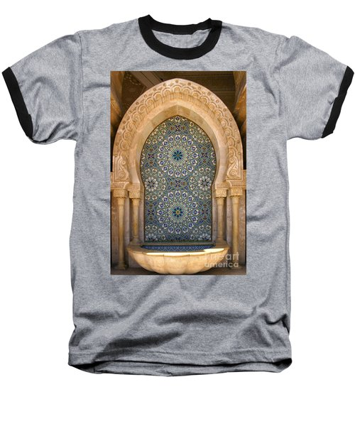 Baseball T-Shirt featuring the photograph Holy Water Fountain Hassan II Mosque Sour Jdid Casablanca Morocco  by Ralph A  Ledergerber-Photography